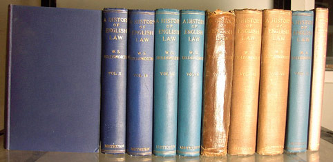 HOLDSWORTH, W.S. - A History of English Law. Volumes 1-9 [of 17] [with] Tables and Index by Edward Potton [Ten Volumes]