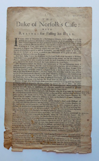 , - The Duke of Norfolk's Case: With Reasons for Passing his Bill. Wing D2514